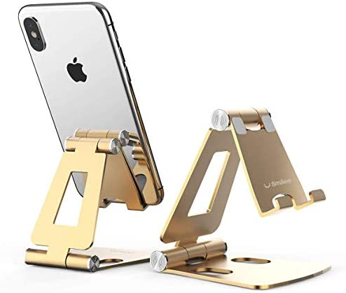 Desktop Cell Phone Stand [Updated Solid Version], Advanced 4mm Thickness Aluminum Stand Holder for Switch, Mobile Phone, iPhone 11 Pro Xs Max Xr (Rose Gold)