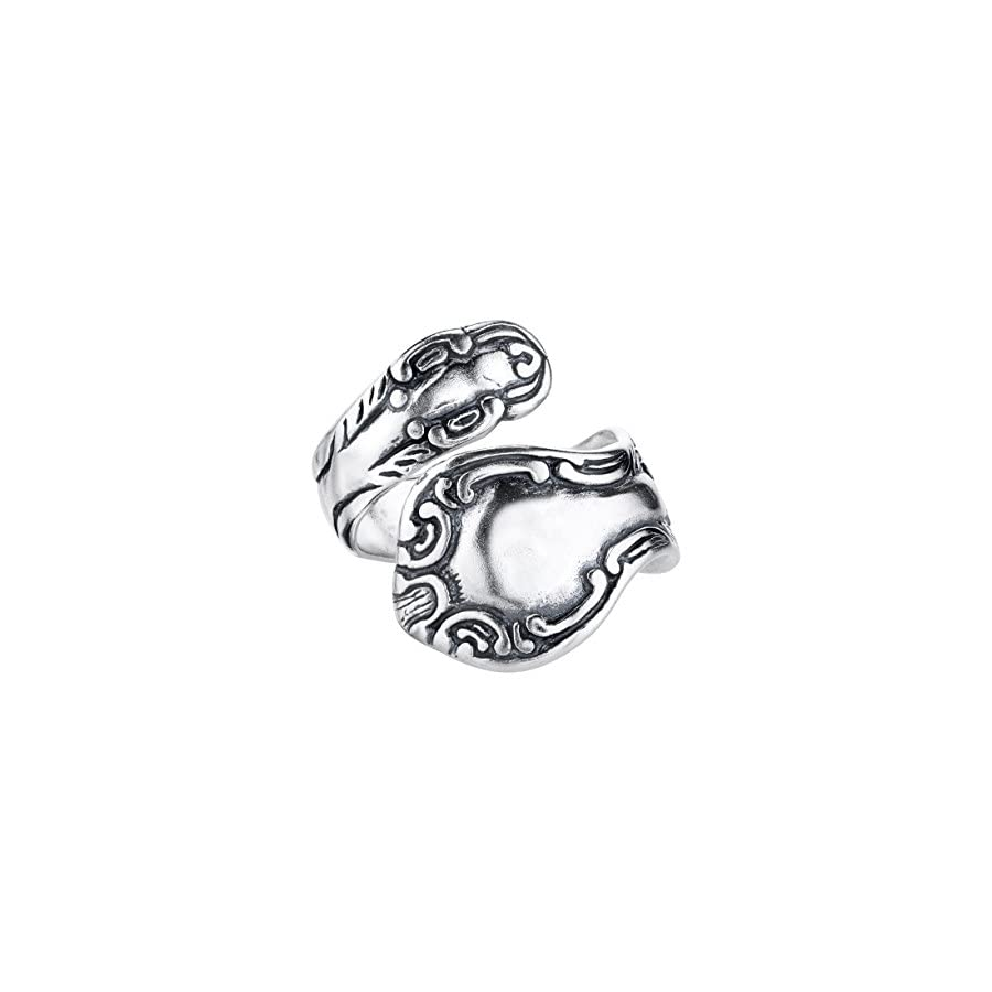 BSE Sterling Silver Swirl Motif Spoon Style Adjustable Ring