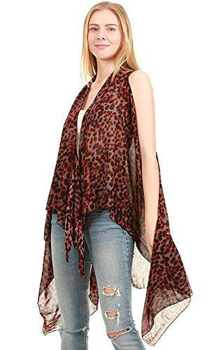 Long Drape Animal Pattern Printed Long Scarf Vest Burgundy