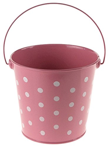 Homeford Firefly Imports Polka Dot Metal Pail Buckets Party Favor, 5-Inch, Light Pink,]()