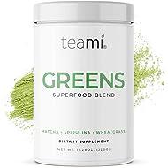Teami Green Superfood Powder - 32 Servings of Super Greens Powder - 16 Vegan Super Green Non-GMO Mixed Veggie Ingredients, Including Spirulina, Chlorella, Wheatgrass, Spinach, Kale, and Acai