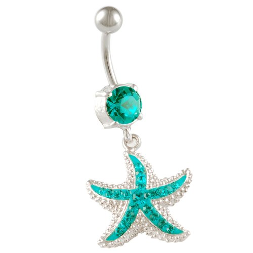 starfish belly button rings sexy dangle 14g 3/8