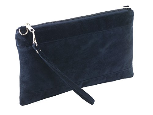 Bag Suede Navy Loni Wristlet Large Shoulder Size Clutch Divine Womens Faux Crossbody qPxt8P