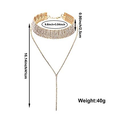 meekoo 2 Pieces Rhinestone Tassel Choker Necklace Multi-Layer Wide Collar Necklaces Tassel Chain Necklaces for Women Girls Favor