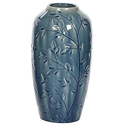 Amazon Hosleys Blue Ceramic Vase With Leaf Branches 11 High