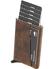 Solo Pelle Kartenetui | Kreditkartenetui | Leder Geldbörse Slim Wallet Portmonee | Geldbeutel mit RFID Schutz für bis zu 8 Karten Model: Mech in Vintage Braun (Used Look)