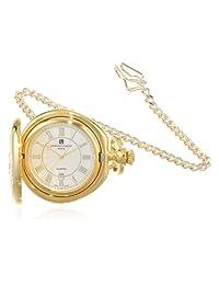 Charles-Hubert, Paris 3781 Gold-Plated Hunter Case Quartz Pocket Watch