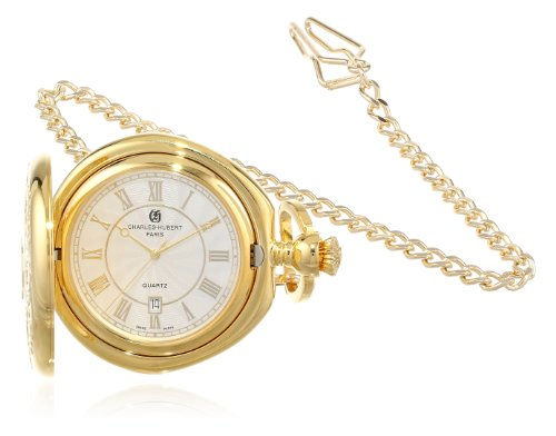 Charles-Hubert, Paris 3781 Gold-Plated Hunter Case Quartz Pocket Watch