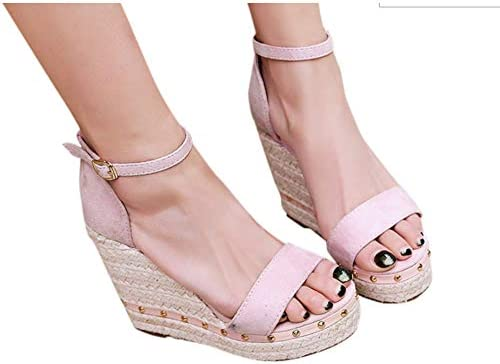 Pmlezs Womens Open Toe Wedges Thick Bottom Straps Buckle Chaussures Femme Sandales