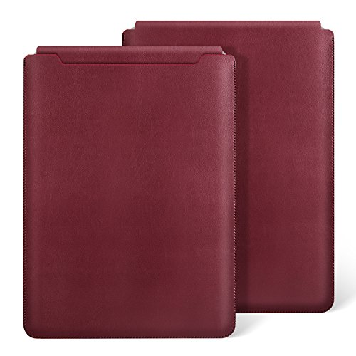 Ayotu Slim Laptop Sleeve for Release in 2018&2017&2016 New MacBook Pro 15.4 Inch with Touch Bar(A1990/A1707) & Pro 15.4 Inch with Retina Display(A1398) Waterproof Leather Case Bag-Dark Red