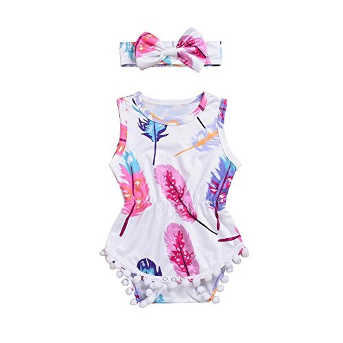 Haute Baby Sweet (YJM Baby Rompers Girls Baumwolle Jumpsuit Outfits Bodysuit Short Sleeved + Headband Set(80,Pink))