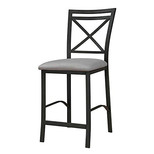 Gentil Dorel Living Devon Crossback Counter Height Padded Metal Dining Chair,  Black Coffee, Gray Cushion