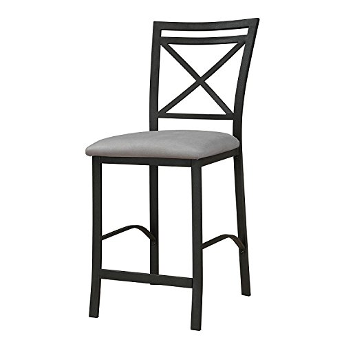 Dorel Living Devon Crossback Counter Height Padded Metal Dining Chair, Black Coffee, Gray Cushion (Counter Breakfast Height)