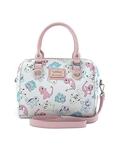 Price comparison product image Loungefly Pastel Pink Pokemon Starters Pikachu Squirtle Crossbody Bag Purse