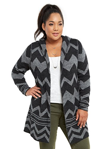 Chevron Hooded Sweater Coat
