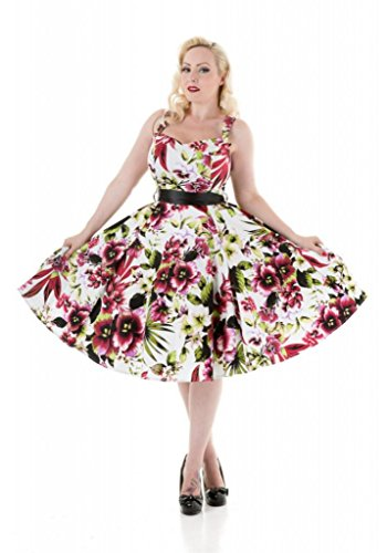 H & R London Tropical Floral Alstroemeria Swing Dress White Red