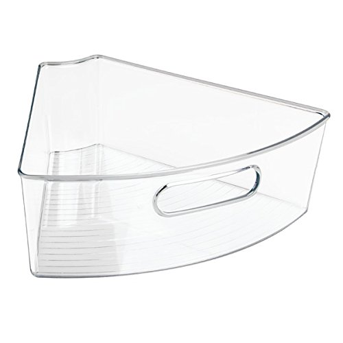 mDesign Kitchen Cabinet Lazy Susan Storage Organizer Bin with Front Handle - Medium Pie-Shaped 1/6 Wedge, 4'' Deep Container - Food Safe, BPA Free - Pack of 3, Clear by mDesign (Image #8)