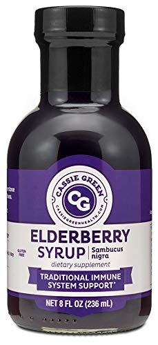 Cassie Green Health Elderberry Syrup, 8 Ounces, Immune Support, Herbal Supplement, Organic Ceylon Cinnamon, Organic Ginger, Organic Lemon Juice, Low in Sugar, Glass Bottle
