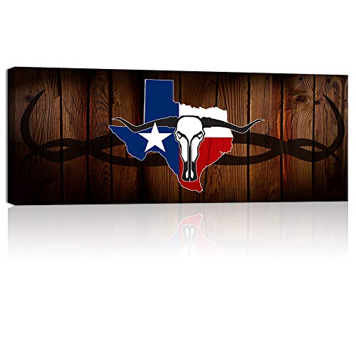 (Welmeco Large Wall Art Rustic American Texas State Flag with Abstract Longhorn Skull Canvas Prints Framed and Stretched Picture for Living Room Office Wall Decoration (01 Texas Flag))