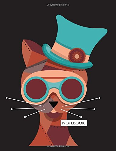 Notebook: Cat on dark brown cover and Lined pages, Extra large (8.5 x 11) inches, 110 pages, White paper (Cat on dark brown notebook) (Volume 1)