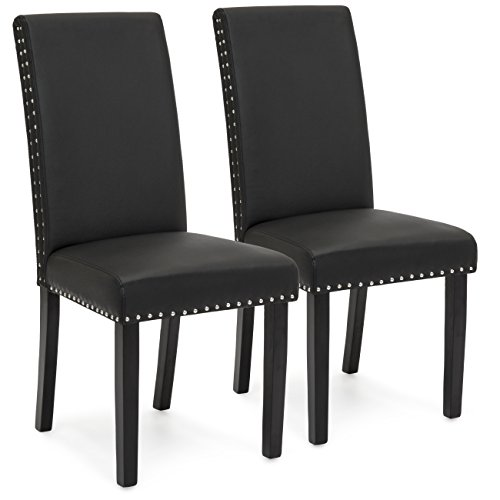 Best Choice Products Set of 2 Studded Faux Leather Parsons Dining Chairs – Black