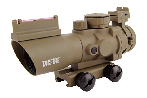 TacFire 4X32 Tan Prismatic Tri-Ill. Scope With Red Fiber Optic Front Sight/Back-Up Iron Sight/Chevron Reticle