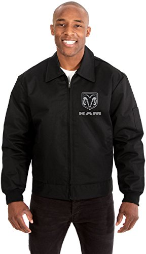 Dodge RAM Men's Mechanics Jacket with Front & Back Emblems Available in Black or Gray (Black, 2X)
