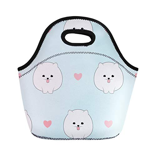 Semtomn Neoprene Lunch Tote Bag Blue Pattern Cute Pomeranian Dogs Animal Breed Pet Spitz Reusable Cooler Bags Insulated Thermal Picnic Handbag for Travel,School,Outdoors,Work