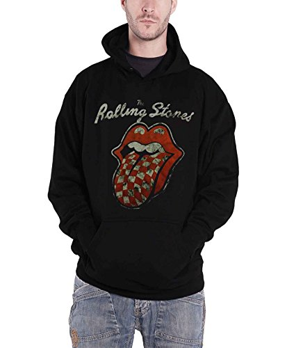 Rolling Stones Lips Logo (Rolling Stones Hoodie Band Logo Tongue Official Mens Black Pullover)