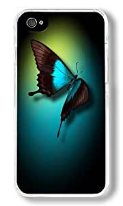 Creative 3d Butterfly Custom iPhone 4S Case Back Cover, Snap-on Shell Case Polycarbonate PC Plastic Hard Case Transparent