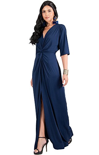 KOH KOH Womens Long Sexy V-Neck Short Sleeve Cocktail Evening Bridesmaid Wedding Party Slimming Casual Summer Maxi Dress Dresses Gown Gowns, Navy Blue M 8-10 Cocktail Wedding Dress Gown