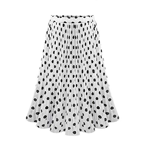 Sendke Polka Dot Pleated midi Skirt High Waist Skirt Flared Skater Swing Holiday Casual A-Line Skirt White]()