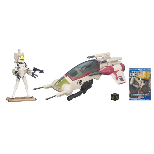 Star Wars Republic Attack Dropship with Clone Pilot Figure 4 Inches (Star Wars Dropship)