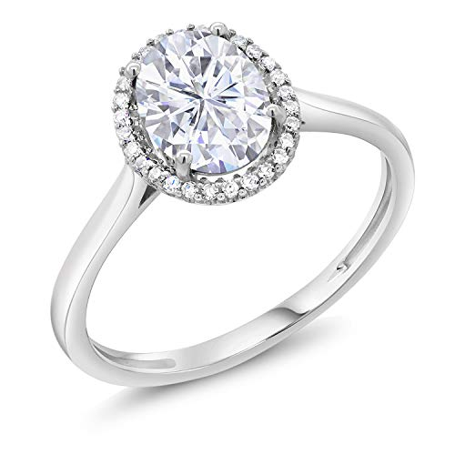 10K White Gold Fashion Right-Hand Ring Forever One (GHI) Oval 1.50ct (DEW) Created Moissanite by Charles & Colvard (Size 6)
