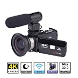 IMSHI 4K Video Camera Camcorder Ultra HD Digital WiFi Camera 30.0MP 3.0 inch Touch Screen Night Vision 16X Digital Zoom Recorder with External Microphone and Wide Angle Lens with Lithium Battery