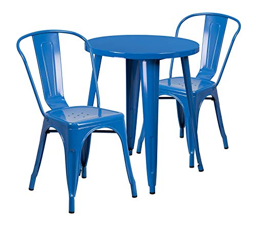 24' Round Cafe Table - Premium 24'' Round Blue Metal Indoor-Outdoor Table Set with 2 Cafe Chairs