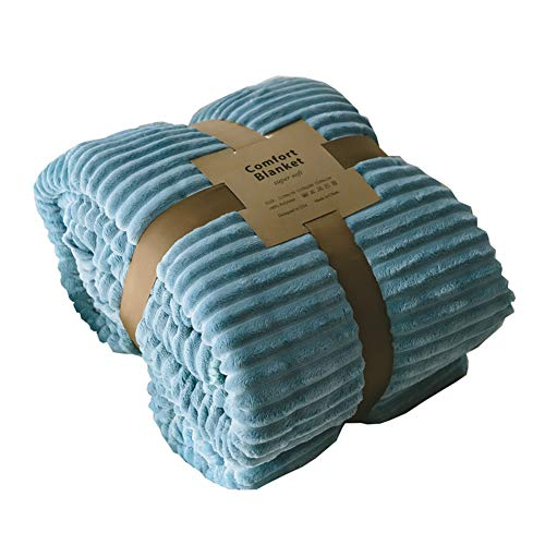 Plush Fleece Flannel Throw Blanket Warm Double Layer Three-Dimensional Stripes Sherpa Quilt for Couch/Bed/Office (60'' x 80'', Blue Lake) ()