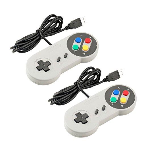 Exlene® Super Game Controller SNES USB Classic Gamepad [2-Pack] for PC MAC Games for Win98/ME/2000/2003/XP/Vista/Windows7/8/ Mac os [Super Nintendo] (White)