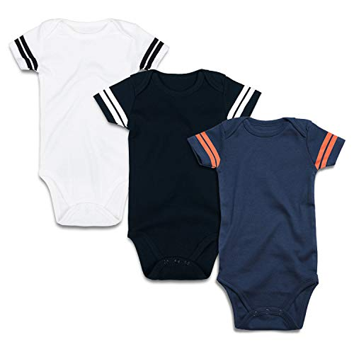 ROMPERINBOX Infant Solid Baby Football Sport Jersey Bodysuits 3 Pack 0-24 Months (3-6 Months, Sports Black White Navy Short Sleeve 3 Pack)