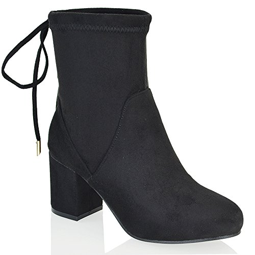 ESSEX GLAM Womens Chelsea Low Heel Stretch Faux Suede Ladies Lace up Pull On Ankle Boots Black Faux Suede