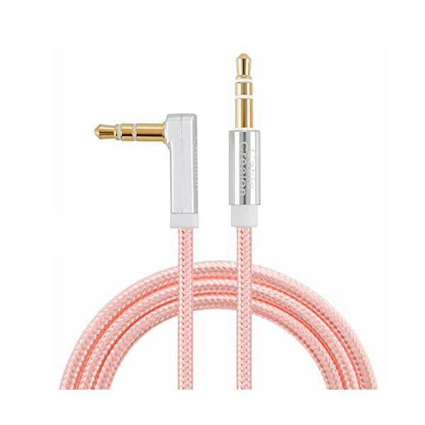 CableCreation 1.5 Feet 3.5mm Auxiliary Audio Cable 90 Degree Right Angle For Apple IPhone, IPod, IPad, Samsung,Smartphones & Tablets And Speakers,24K Gold Plated, Rose Gold
