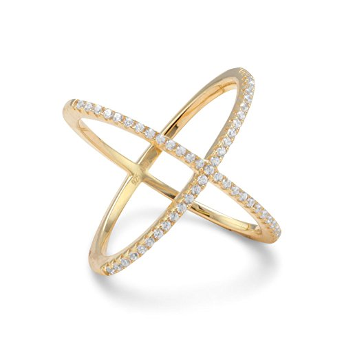 Precious Stars 18k Yellow Gold Plated Sterling Silver Signity Cubic Zirconia 'X' Criss-Cross Ring