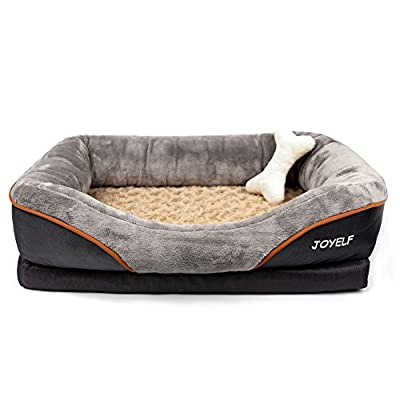 JOYELF Orthopedic Dog Bed Memory Foam Pet Bed with Removable Washable Cover and Squeaker Toys as Gift