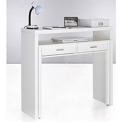 Mesa escritorio desplazante blanco brillo para estudio, oficina o ...