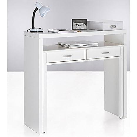 Habitdesign 004582BO - Mesa de Escritorio Extensible, Mesa Estudio Consola, Medidas: 98,5 x 87,5 x 36-70 cm de Fondo (Blanco)