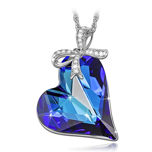 LADY COLOUR Mothers Day Necklace Gifts Necklace Valentines Gifts for Women Blue Heart Pendant Swarovski Crystal Fashion Jewelry for Her Anniversary Birthday for Women Wife Girlfriend Daughter Mom Girl
