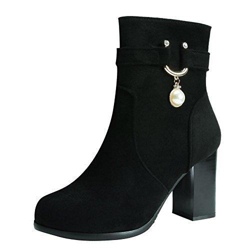 Mee Shoes Women's Work Zip High Block Heel Faux Pearl Short Boots Black