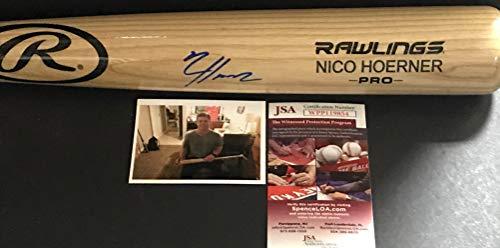 (Nico Hoerner Chicago Cubs Autographed Signed Blonde Baseball Bat JSA WITNESS COA)