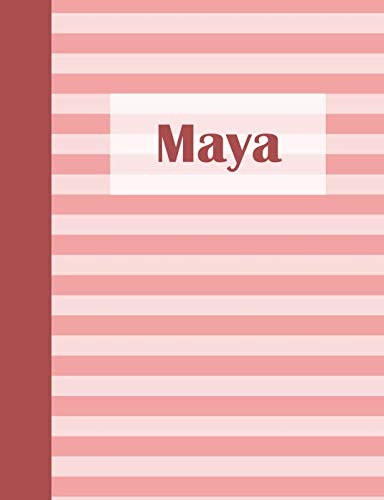 Girls Pink Stripe Maya - Maya: Personalized Composition Book | School Notebook, College Ruled (Lined), Pastel Pink Stripe Pattern with First Name