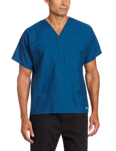 Caribbean Blue Unisex Reversible Scrub - Landau Premium Uniform Reversible One Pocket V-Neck Scrub Top, Caribbean Blue, X-Small